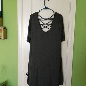 Grey Jersey dress with cross back detail